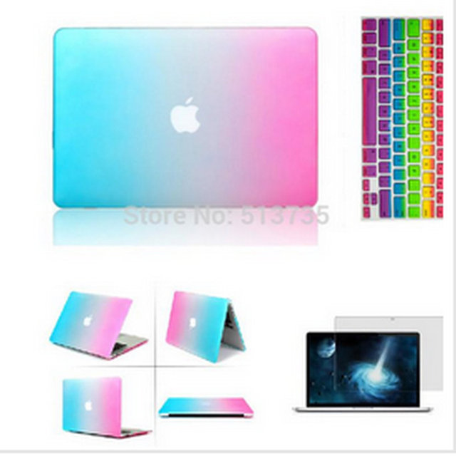 58f126ec713 Laptop 3 in 1 Rainbow Matt Case Cover+ Silicone Keyboard Cover+Screen  Protector For Apple Mac Book Pro 11   12
