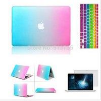 Laptop 3 in 1 Regenboog Matt Case Cover + Siliconen Toetsenbord Cover + Screen Protector Voor Apple Mac Book Pro 11 ''/12