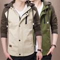 Newest Koean Fashion Men Brand Jackets Plus Size M-3XL Autumn & Spring Patchwork Men's Clothing 2015 Charm Boy Hooded Outerwear
