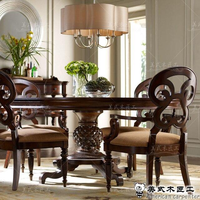 comedor de madera maciza mesa redonda pas americano europeo mesa de comedor redonda y sillas combinacin - Mesa Redonda Comedor