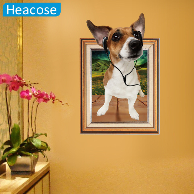 3D cartoon cute puppy dog fake photo frame Wall Stickers Home ...