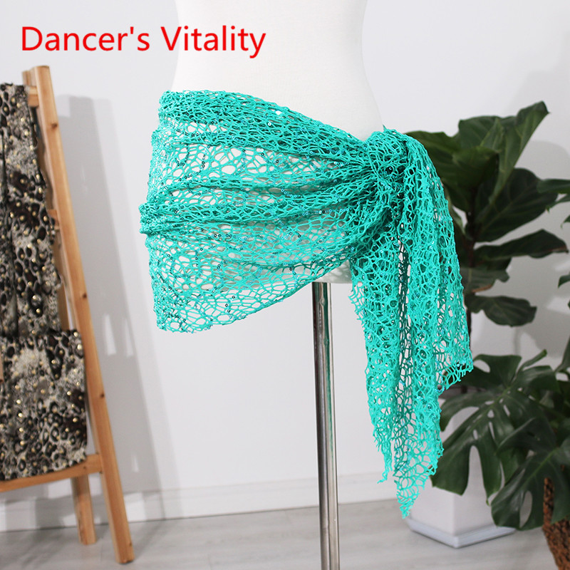 2019 New Women's Dance Wear Belt Lace Hollow Mesh Sequins Belt Belly Dance Hip Scarf Belly Dance Practice Clothes