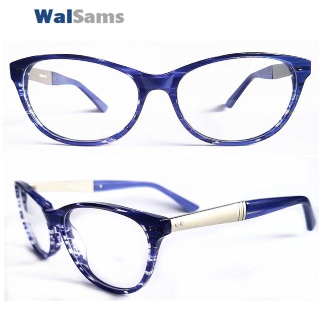 2d7c69628ff Blue Striped Cat Eye Acetate Eyeglasses Non Prescription Optical Frames  Prescription Frames with Clear Lens Metal Comb -Z2709