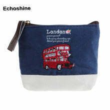 2016 new brand London Bus Embroidered Admission Package Canvas Coin Purse Hand Bag gift free shipping &wholesale