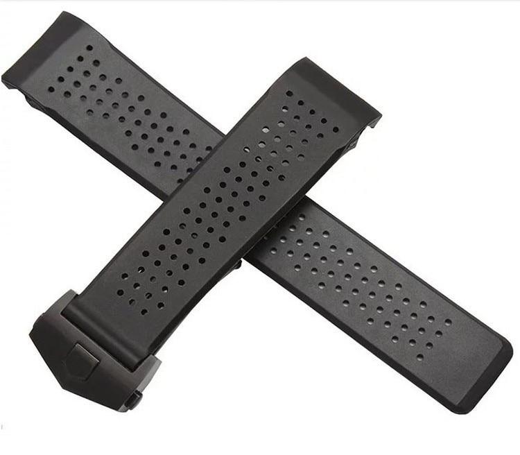 Bande de Montre De remplacement 22mm 24mm Nouveau Haut grade Noir Plongée En Caoutchouc de Silicone Trous Montre de Courroie De Bande