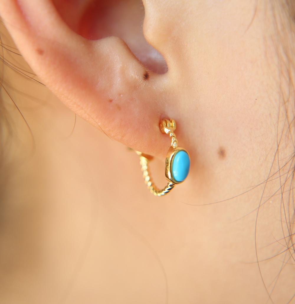 fashion 100% 925 Sterling Silver delicate turquoises stone Minimal anti allergy clip on studs girs gold color stone earring