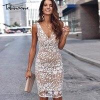 Tobinoone спинки рукавов сексуальное платье Для женщин глубоким v-образным вырезом Высокая Талия облегающее летнее платье женские элегантные в...