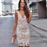 Tobinoone Backless Sleeveless Sexy Dress Women Deep V Neck High Waist Bodycon Summer Dress Lady Elegant Party Solid Vestidos