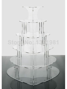 Exquisite clear acrylic cake tower/Details about Wedding Acrylics 6 Tier Clear Heart Acrylic Party Cup Cake Stand