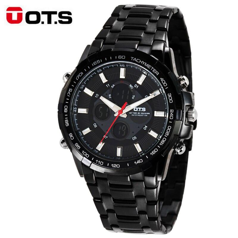 OTS Luxury Watch Mens Business Casual Wristwatches Sport Dual Display Waterproof WatchesOTS Luxury Watch Mens Business Casual Wristwatches Sport Dual Display Waterproof Watches