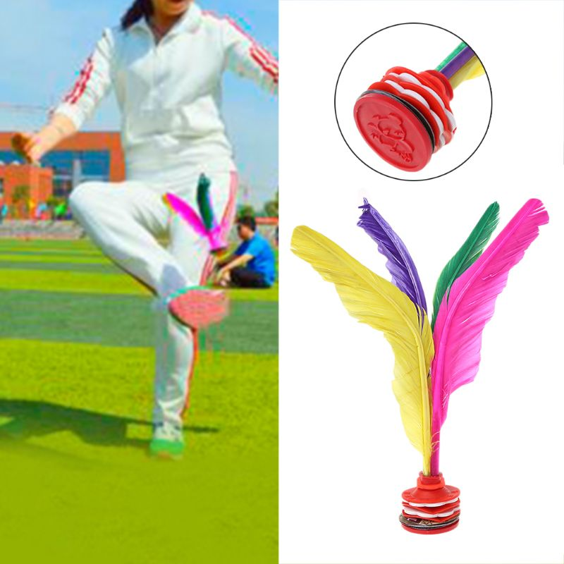 1 Pc Colorful Feather Shuttlecock Chinese Jianzi Fitness Sports Toy Game Goose Feather Rubber Foot Kicking Shuttlecock