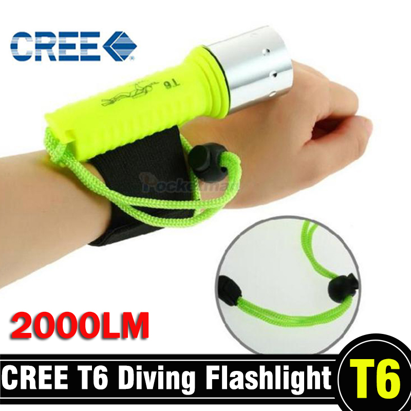 2000LM Diving Flashlight CREE T6 LED Underwater Scuba Dive Torch Waterproof Flash Light Lamp for Diving