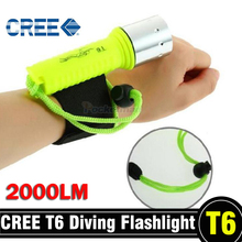 2000LM Diving Flashlight CREE T6 LED Underwater Scuba Dive Torch Waterproof Flash Light Lamp for Diving Free shipping
