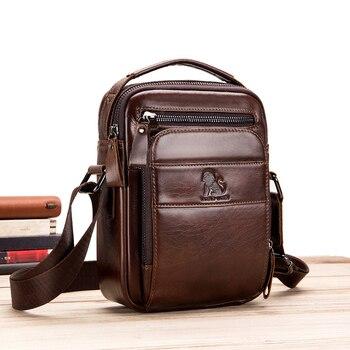Men's Genuine Leather High Quality Casual Messenger Bag Classic Design Brand Fashion Retro Mobile Phone Shopping Storage Bag