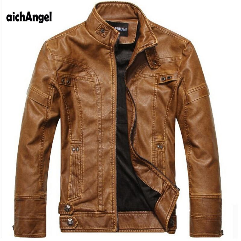 AichAng Moto En Cuir Vestes Hommes Automne Hiver Vêtements En Cuir Hommes En Cuir Vestes Mâle D'affaires décontractée Manteaux
