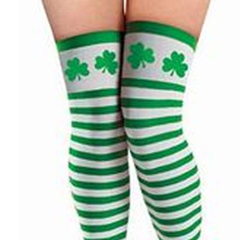 88697b18b Green White Striped Clover Stockings St Patricks Day Four leaf Clover Thigh  High Knee Elastic Party Cosplay Costumes Accessories-in Stockings from  Underwear ...