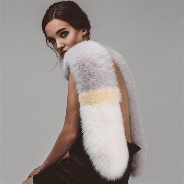 MIARA L Korean color matching fox fur grass scarf female winter thick dual use shawl student collar long shawl for wholesale in Women 39 s Scarves from Apparel Accessories