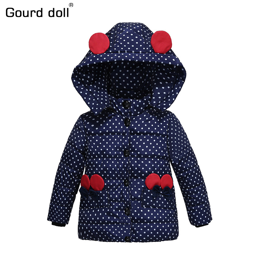 2017 New pattern Baby Girls Jacket Kids Winter Cartoon Lovely Keeping Warm Coat Children Cotton Fashion Hooded Thick Outerwear