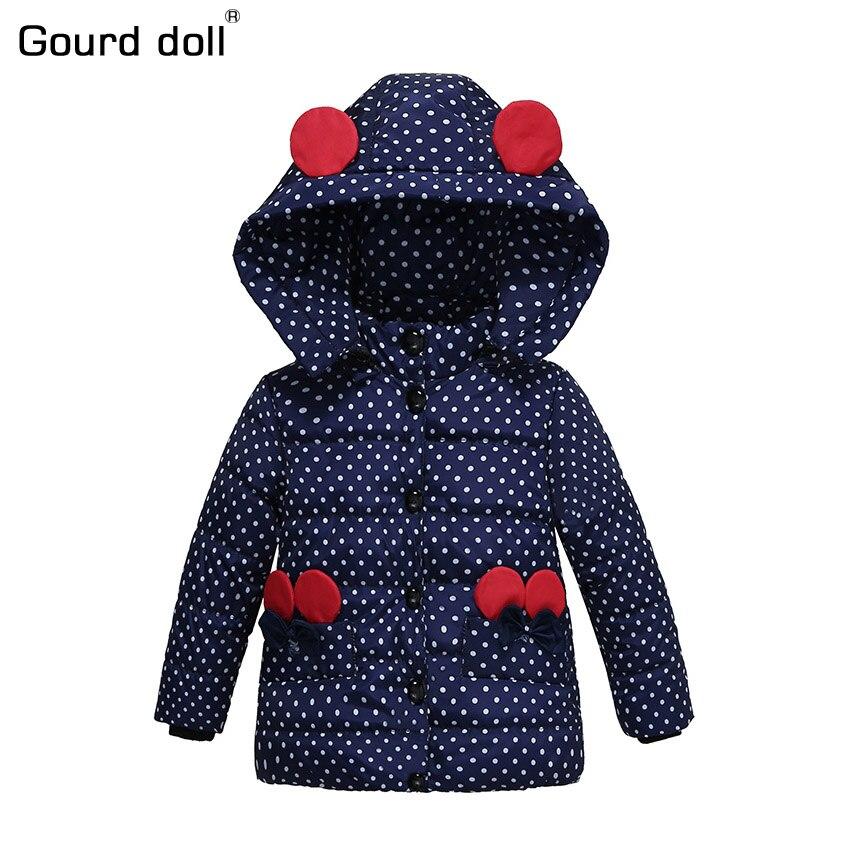 2017 Nouveau modèle Bébé Filles Veste Enfants Hiver de Bande Dessinée Belle Garder Au Chaud Manteau Enfants Coton De Mode À Capuchon Survêtement Épais