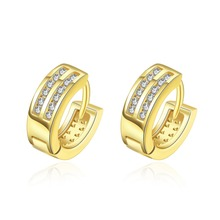 2016 Fashion jewelry plated  gold small hoop earrings with CZ diamonds for women Classic luxury wedding Gift factory price