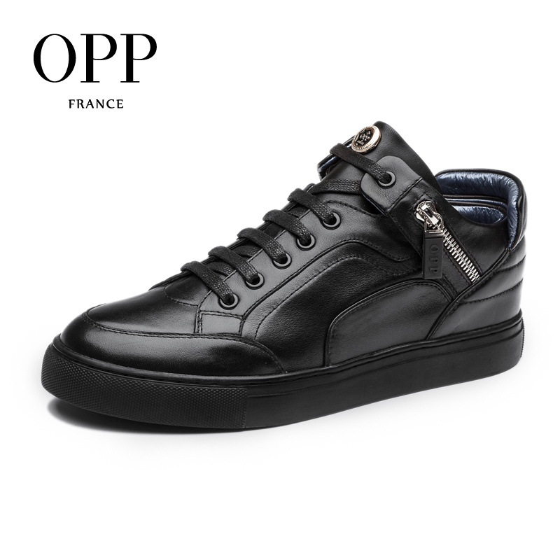 OPP 2017 New Men's Genuine Leather High-top Casual Shoes Full Grain Leather Shoes Black/Blue Fashion Style Lace-Up Round-Toe 2016 triangle rivets decoration full grain leather casual shoes eu luminescent substrate high shoes lace up couple models white