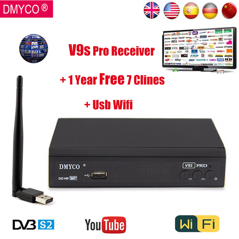 DMYCO V9S PRO Receptor DVB-S2 Full HD 1080P FTA lnb Satellite Decoder With Usb wifi Clines Suooprt BISS Key Powervu Youtube