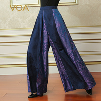 VOA 2017 Fall Plus Size Loose Purple Wide Leg Pants Silk Jacquard Women Maxi Long Skirt Pants Vintage Thick Trouser KLA00701