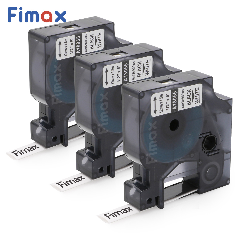 Fimax 3 Pcs Compatible Dymo Authentic Industrial Heat Shrink Tube 18055 Black on White 12mm DYMO Rhino Label Printer LabelWriter