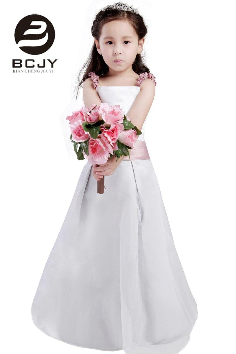 2019   Girls   Spaghetti Straps   Dresses   Princess   Flower     Girl     Dresses   Sleeveless Zip Up Back with Handmade   Flower   Custom Made   Dress