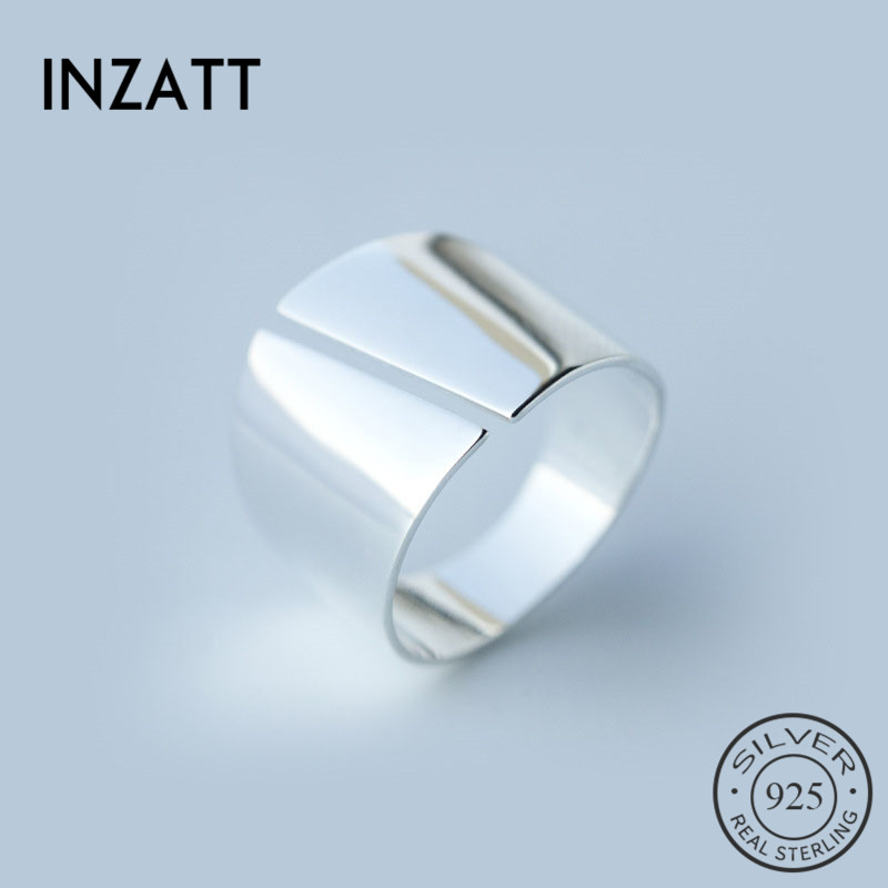 INZATT Real 925 Sterling Silver Minimalist Wide Glossy Opening Ring For Fashion Women Party Elegant Lines OL Fine Jewelry Gift