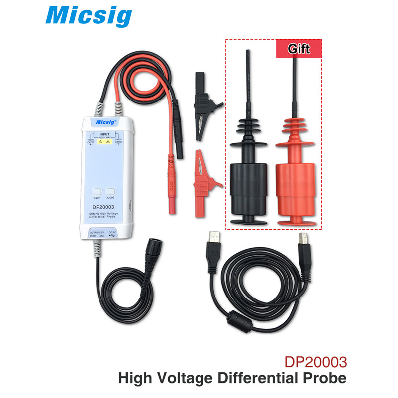 Micsig Osciloscópio 5600 MHz 100 V High Voltage Sonda Diferencial kit DP20003 3.5ns Tempo de Subida 200X/2000X Taxa De Atenuação