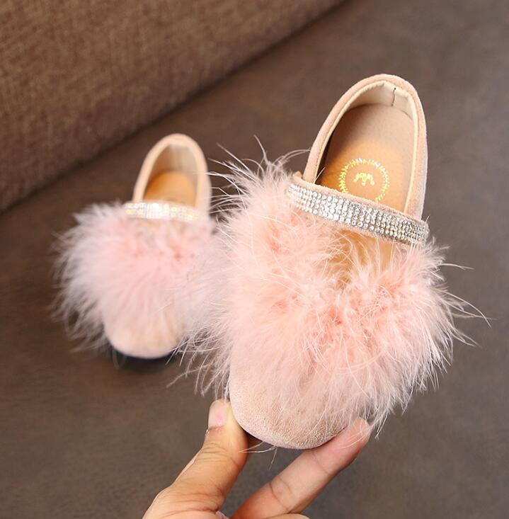 Children Kids Pompom Leather Shoes for Girls Birthday Party Pageant Wedding Princess Crystal Casual ShoesChildren Kids Pompom Leather Shoes for Girls Birthday Party Pageant Wedding Princess Crystal Casual Shoes