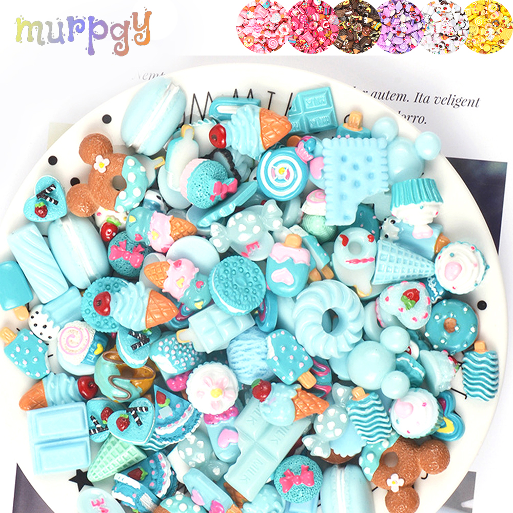 10pcs Resin Cake Charms Slime Supplies Soft Clay Kit Lizun DIY Accessories Decoration Antistress Addition For Plasticine Toys