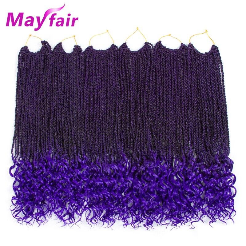 MAYFAIR 18 pouces sénégalais torsion bouclés Crochet cheveux 6 paquets Ombre synthétique tressage Extensions de cheveux fin coloré brins cheveux