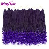 MAYFAIR 18Inches Senegalese Twist Curly Crochet Hair 6Packs Ombre Synthetic Braiding Hair Extensions End Colored Strands Hair