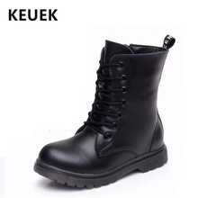 все цены на NEW 2019 Autumn Children Leather boots Genuine leather Mid-Calf Motorcycle boots Boys Girls shoes Winter Kids Snow boots 04 онлайн