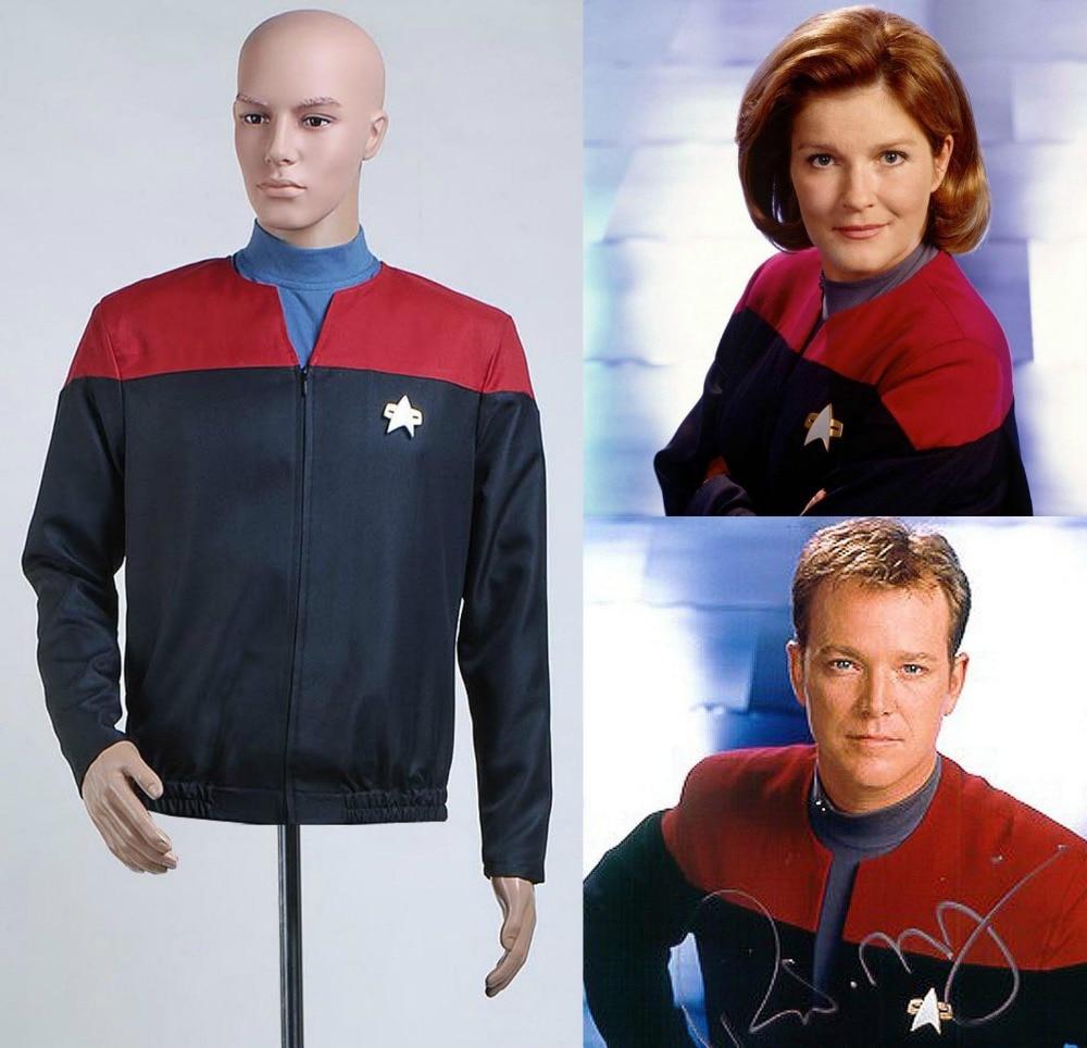 Star Trek Voyager Command Cosplay Costume Captain Star Trek Uniform Jacket+Shirt+Badge