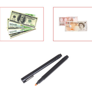 2pcs Money Checker Tester Pen Unique Ink Currency Detector Counterfeit Marker Fake Banknotes Checkering Tools Money Detector(China)