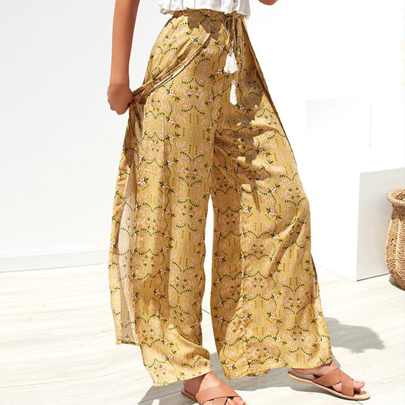 Conmoto Casual High Waist Wide Leg Pants Women 19 Summer Beach Split Trousers Female Holiday Vintage Floral Prints Capris 4