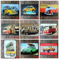 VW BUS coche Metal placa digital Decoración retro pintura oxidado cartel de pintura de Metal 30*20CM
