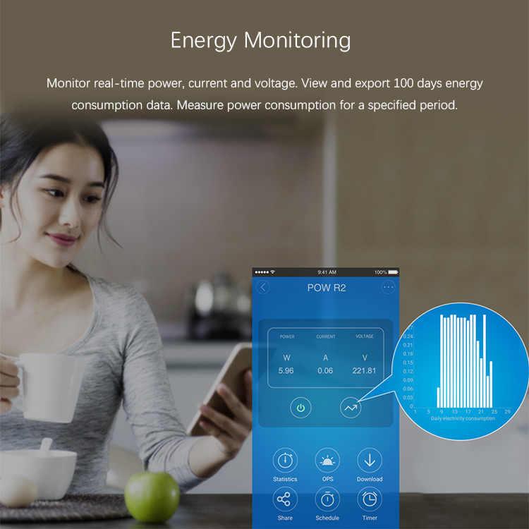 Sonoff Pow R2 16A interruptor inteligente Wifi Monitor de energía medición hogar energía Control de voz remoto inalámbrico hogar automatización