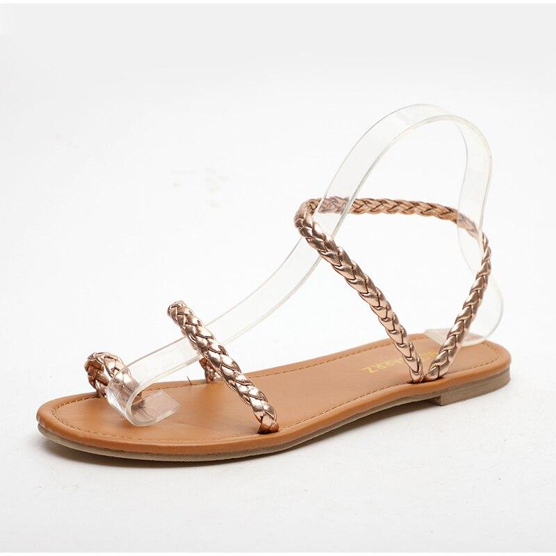HTB1SCgJMwHqK1RjSZFgq6y7JXXaa MCCKLE Plus Size Thong Sandals Summer Women Flip Flops Weaving Casual Beach Flat With Shoes Rome Style Female Sandal Low Heels