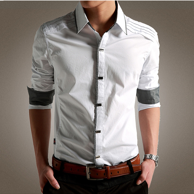 New Brand Men Shirt Long Sleeve Cotton Male Business Shirts Men Slim Fit Chemise Homme All-Match Mens Dress Shirts M-XXXL