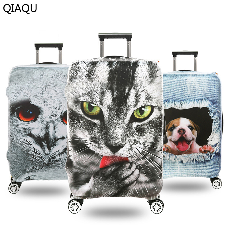 QIAQU 2017 3D pet pattern Suitcase Cover Luggage Cover Protector Cover High Stretch Protection Dust-Proof Cover On Suitcase