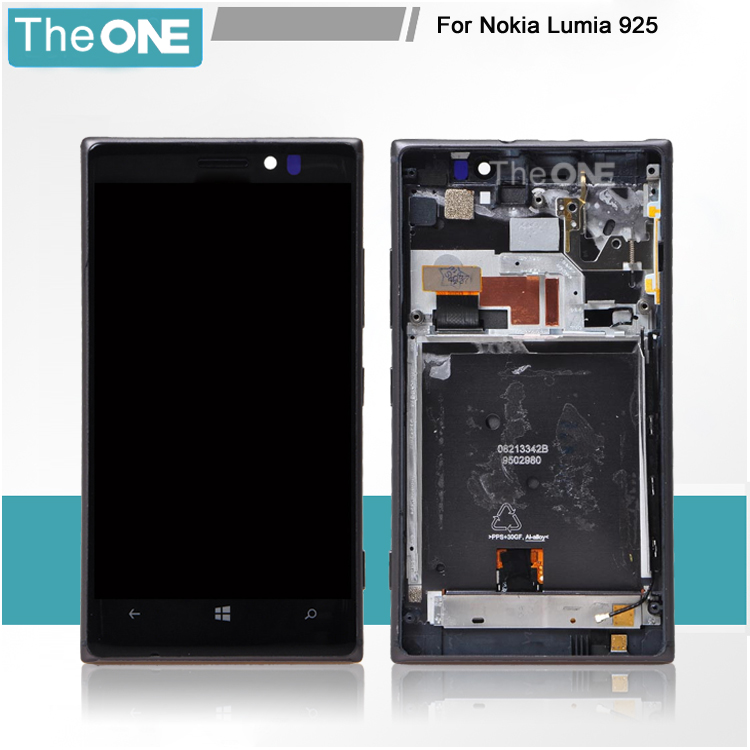 For Nokia Lumia 925 LCD Display Touch Screen Digitizer Glass Assembly + Bezel Frame Black Replacement Part lcd screen assembly for apple iphone 4 4g lcd display touch screen digitizer pantalla with frame bezel replacement black white