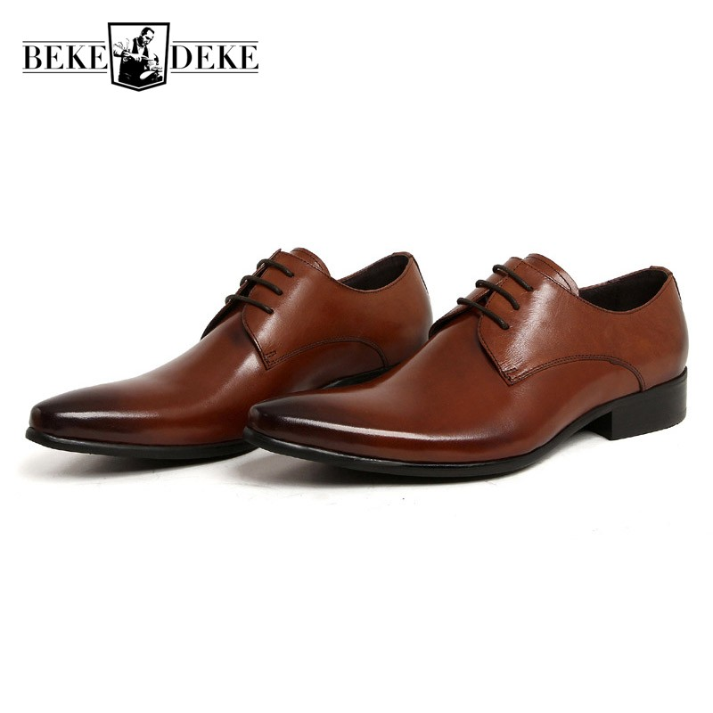 Italian Fashion Formal Mens Dress Shoes Genuine Leather Brown Wedding Male Shoes 2018 Business Footwear Zapatos Hombre Plus Size 2017 new fashion italian designer formal mens dress shoes embossed leather luxury wedding shoes men loafers office for male
