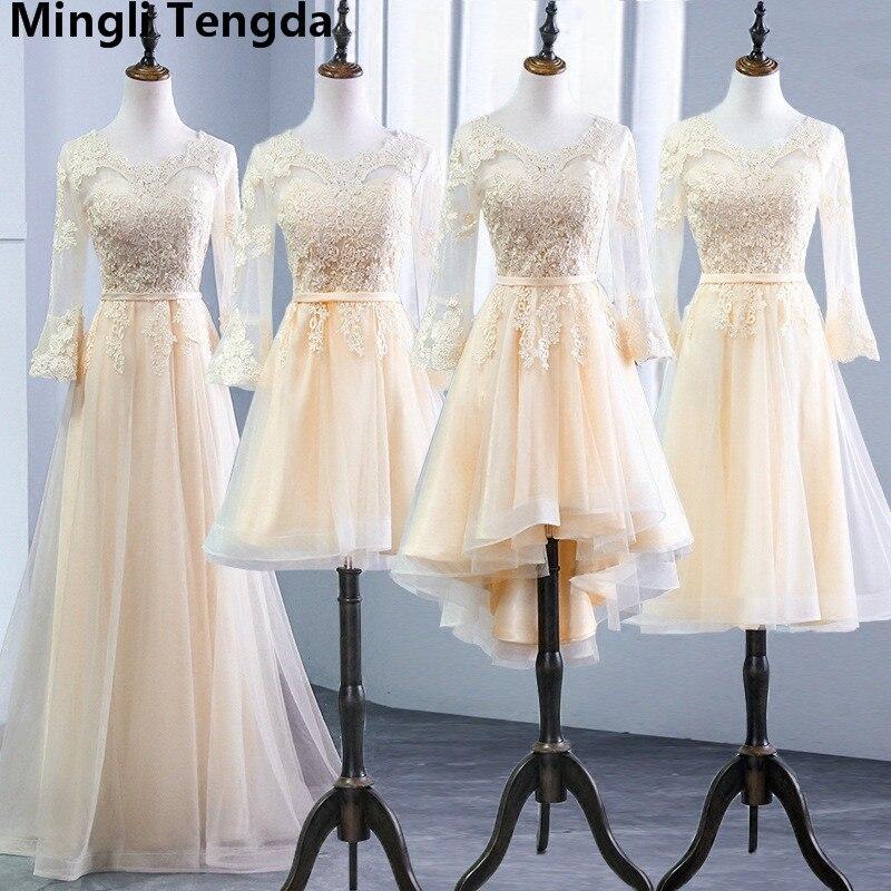 Champagne   Bridesmaid     Dress   Floor Length A line Sexy Sweetheart Appliques 3/4 Sleeve robe demoiselle d'honneur Mingli Tengda