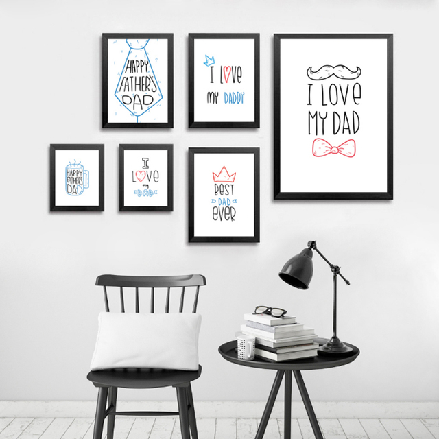 I Love My Dad Poster Canvas Paintings Modern Fathers Day Gift