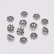 Embouts de perles de fleurs antiques de 8mm, 100 pièces/lot, bouchons pour la fabrication de bijoux, travaux d'aiguille, boucles d'oreilles, bricolage