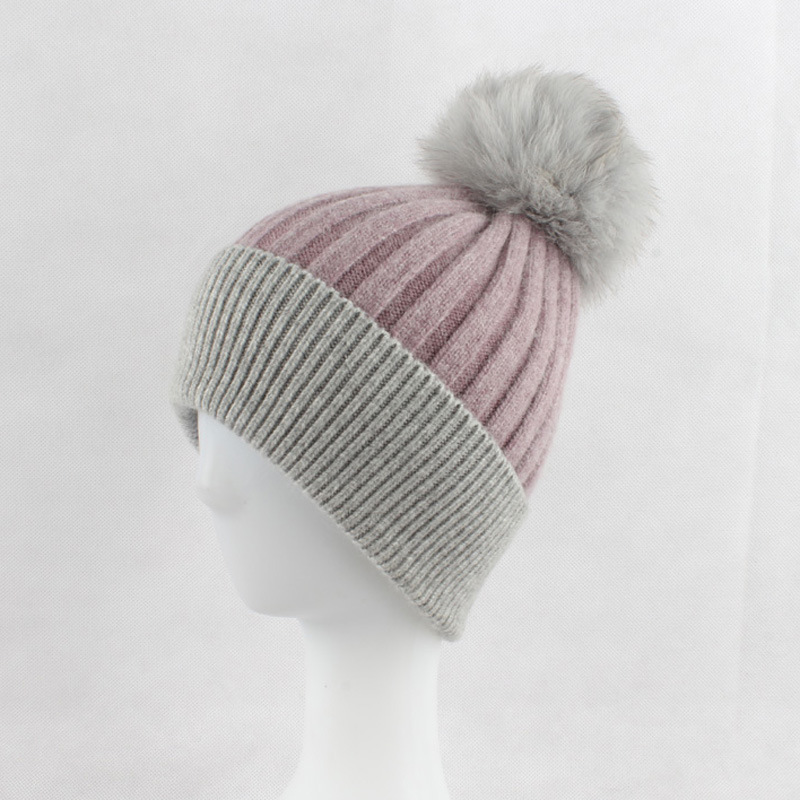 Russian Women's Striped Wool Skullies Beanies Hats Fox Fur Pom Pom Hat Female Winter Warm Caps Fashion Headgear LF4060 skullies